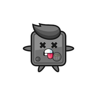 Персонаж милого сейфа с мертвой позой, милый стиль дизайна для футболки, наклейки, элемента логотипа