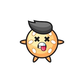 Персонаж милого кунжутного шара с мертвой позой, милый стиль дизайна для футболки, наклейки, элемента логотипа