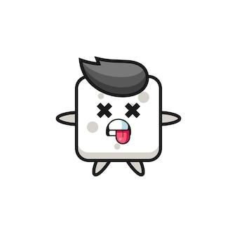 데드 포즈가 있는 귀여운 설탕 큐브의 캐릭터, 티셔츠, 스티커, 로고 요소를 위한 귀여운 스타일 디자인