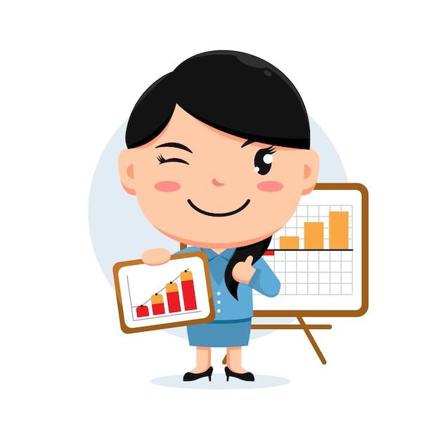 웃는 얼굴로 전면 차트 보드에 차트를 들고 여자의 캐릭터