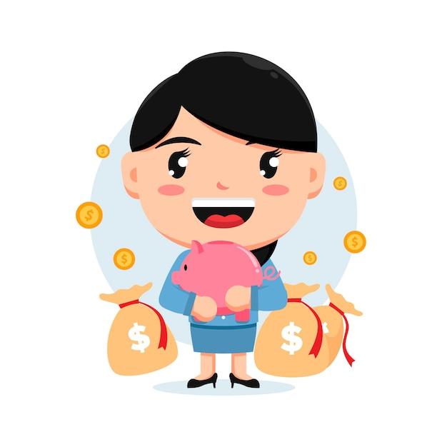 돼지 저금통 돈과 돈 자루를 들고 여자의 캐릭터