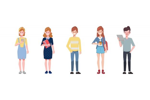 Характер юноши и девушки являются учеными студента колледжа с дружбой.