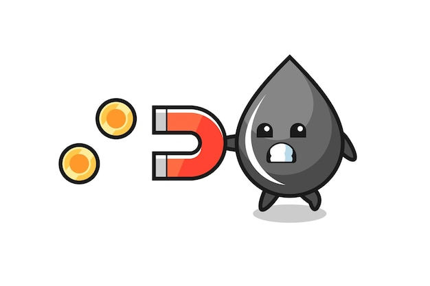 The character of oil drop hold a magnet to catch the gold coins , cute style design for t shirt, sticker, logo element