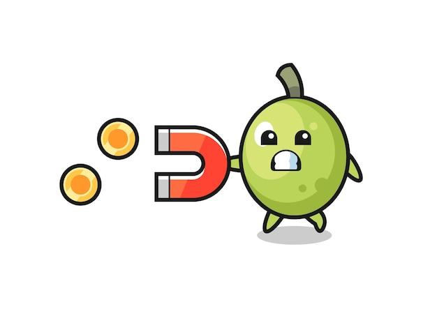 The character of olive hold a magnet to catch the gold coins , cute style design for t shirt, sticker, logo element