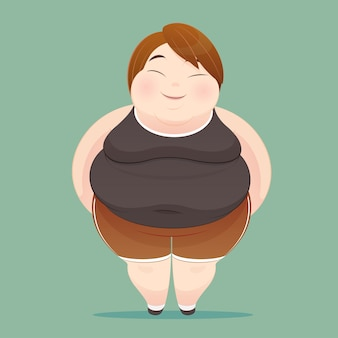 Character of an overweight woman dressed in sportswear