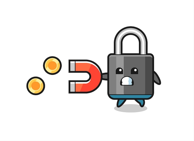 The character of padlock hold a magnet to catch the gold coins , cute style design for t shirt, sticker, logo element