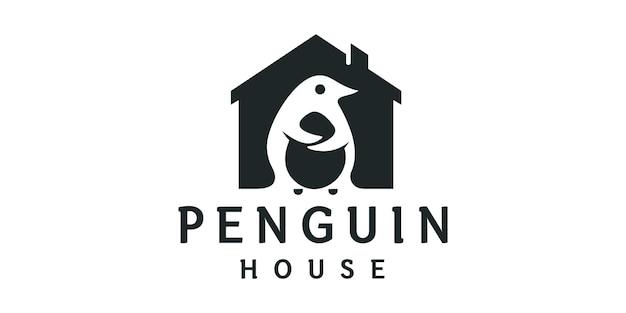 Character penguin house design logo