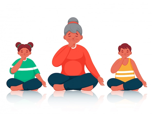 Character of people doing yoga alternate nostril breathing in sitting pose.