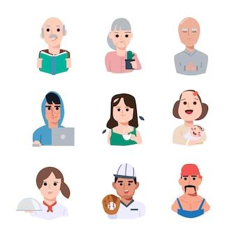 Набор символов людей - иллюстрация Premium векторы