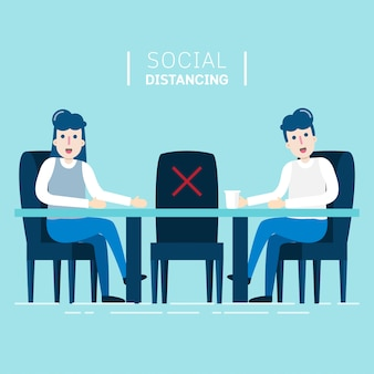 Character people sitting at desk meeting by new normal concept is social distancing at workplace.