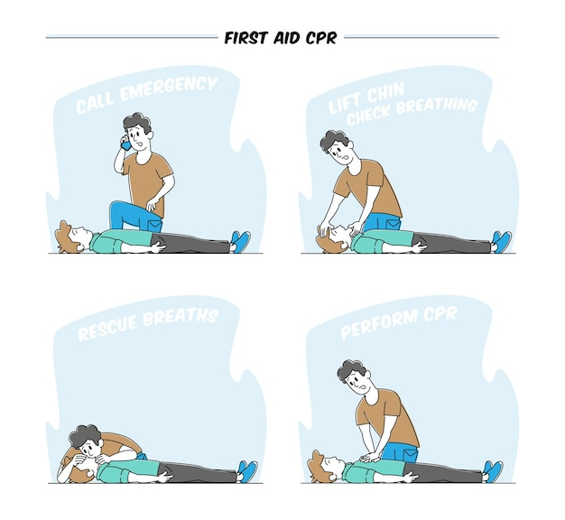 Character perform first aid help to victim lying on floor. emergency call
