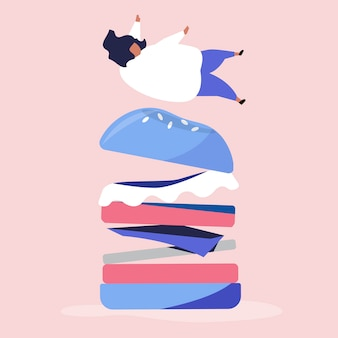 Character of a person falling on a giant hamburger