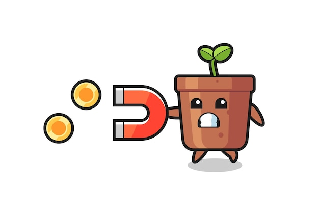The character of plant pot hold a magnet to catch the gold coins , cute style design for t shirt, sticker, logo element