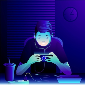 Character playing mobile games in the middle of the night
