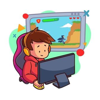 Personaggio che gioca ai videogiochi online