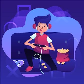 Персонаж играет в видеоигры и ест закуски