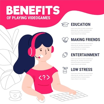 Character playing video games benefits infographic