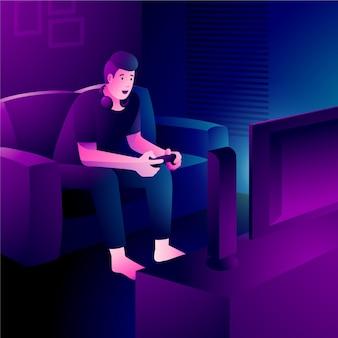 Personaggio che gioca ai videogiochi dal divano