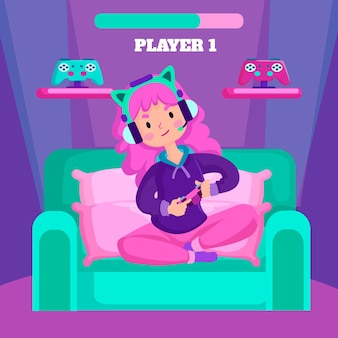 Character playing video games and sitting on sofa