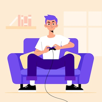 Character playing videogame concept
