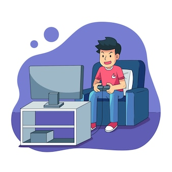 Character playing videogame illustrated