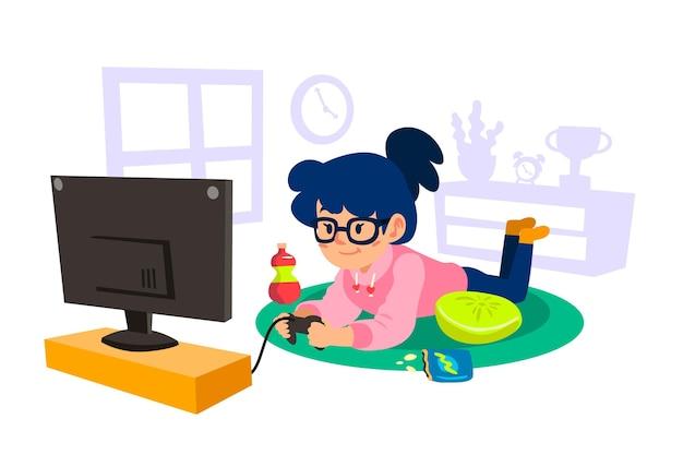 キャラクターがビデオゲームをプレイ