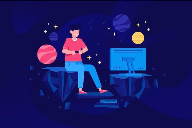 Персонаж, играющий в видеоигру
