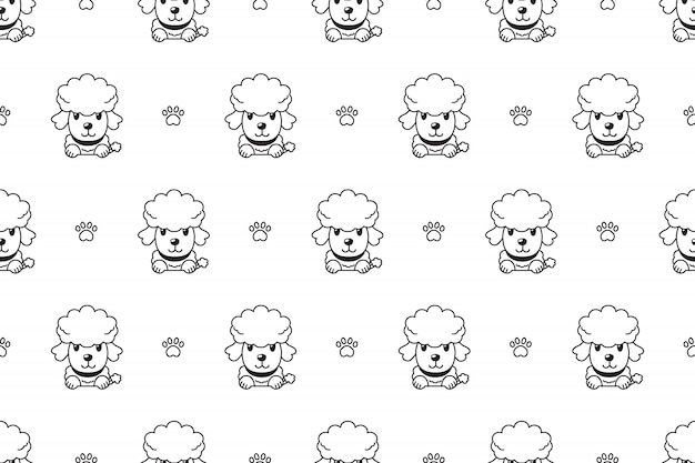 Character poodle dog seamless pattern