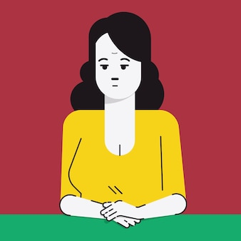 Character portrait of adult woman, sitting alone