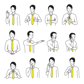 Character portrait set of businessman with various hand sign body language and emotion expression.