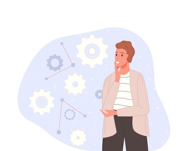 Personaggio in lavorazione con tipi di mentalità mentale o modelli creativi per risolvere il problema.