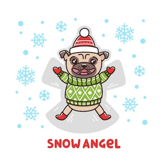Character pug dog in a winter sweater makes a snow angel