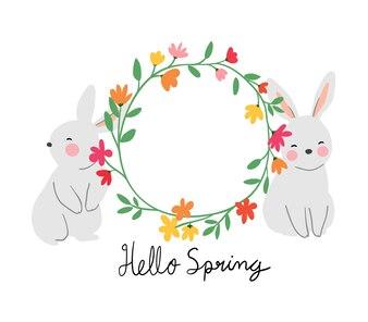 美しい花輪とキャラクターウサギ