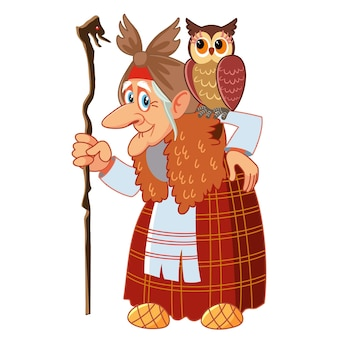 Character of russian folk tale baba yaga, funny old witch with a staff and an owl.