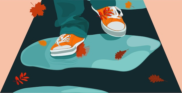 The character's feet in sneakers step on puddles and fallen leaves. hello, autumn. vector.