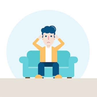 Character of sad man sitting at sofa in living room, feeling stressed, worried, or anxious about the coronavirus.