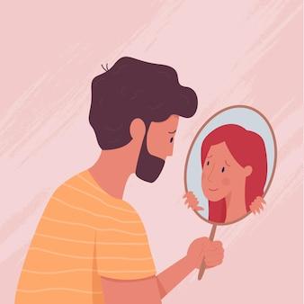 鏡の中の自分を見るキャラクター
