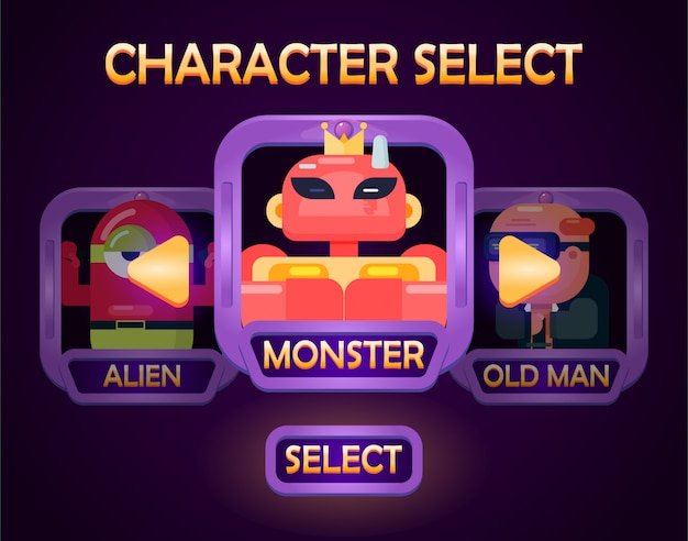 Character selection menu pop up for game ui elements