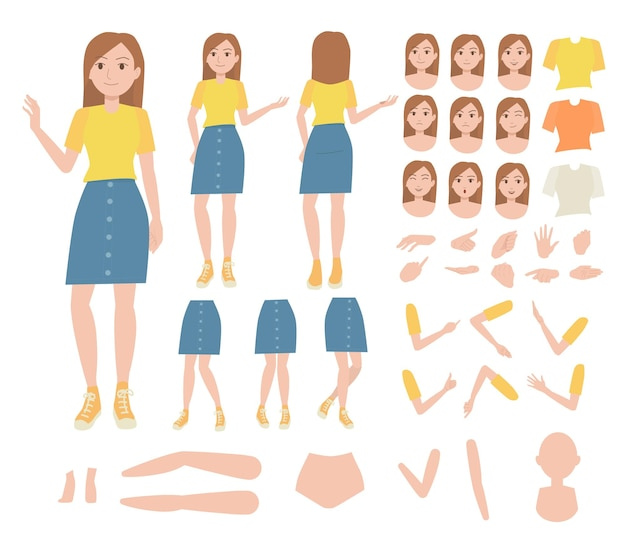 Character set for animation young woman character for animated