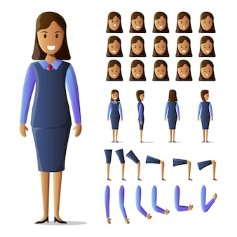 Character set businesswoman kit