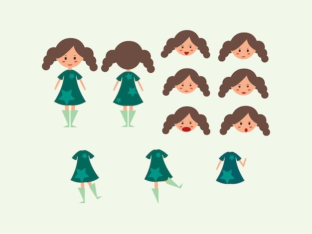 Character set cute girl female