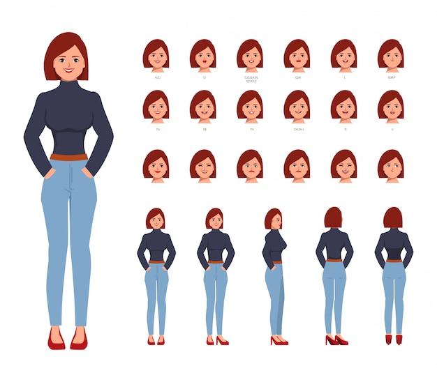 アニメーション用の文字セット。アニメの若いビジネス女性キャラクター。感情を持った創作者はアニメーションの口に直面します。フラットベクターデザイン。