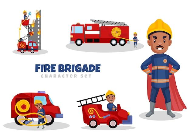 漫画風の消防隊員の文字セット