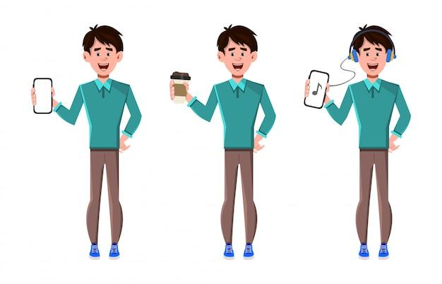전화와 커피 컵을 들고 세 포즈의 문자 집합