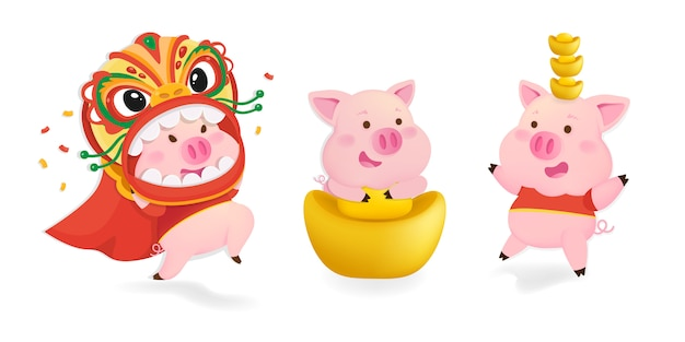 Character set of pigs. pigs for chinese new year.