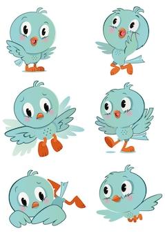 Лист персонажей милой маленькой мультяшной птицы векторная иллюстрация