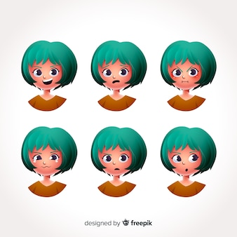Character showing emotions