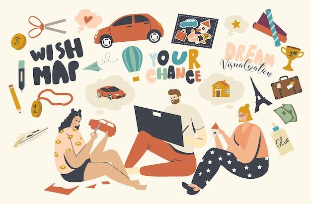 바닥 절단에 앉아 있는 캐릭터 또는 꿈이 실현되는 소원 지도 그리기. 풍수 시각화 의식, 집, 여행 또는 자동차를 꿈꾸는 사람들, 성공과 환상. 선형 벡터 일러스트 레이 션