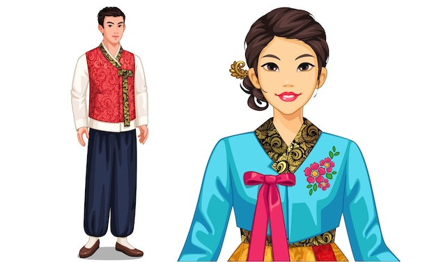 Character of south korean couple in traditional costume
