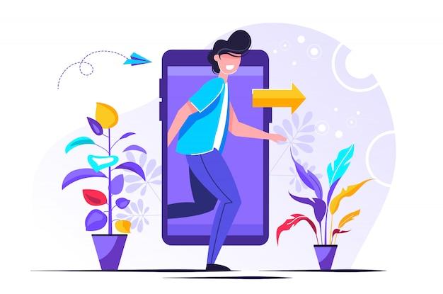 Персонаж выходит из экрана мобильного телефона